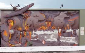 ダーウィン空爆から70年を記念してつくられたWharfにある壁画