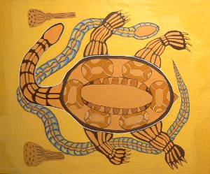 亀と蛇の絵画